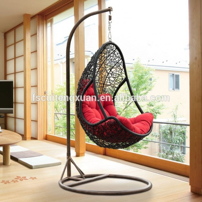 Dark Brown Swingasan Chair With Red Cushion For Charming Furniture Ideas