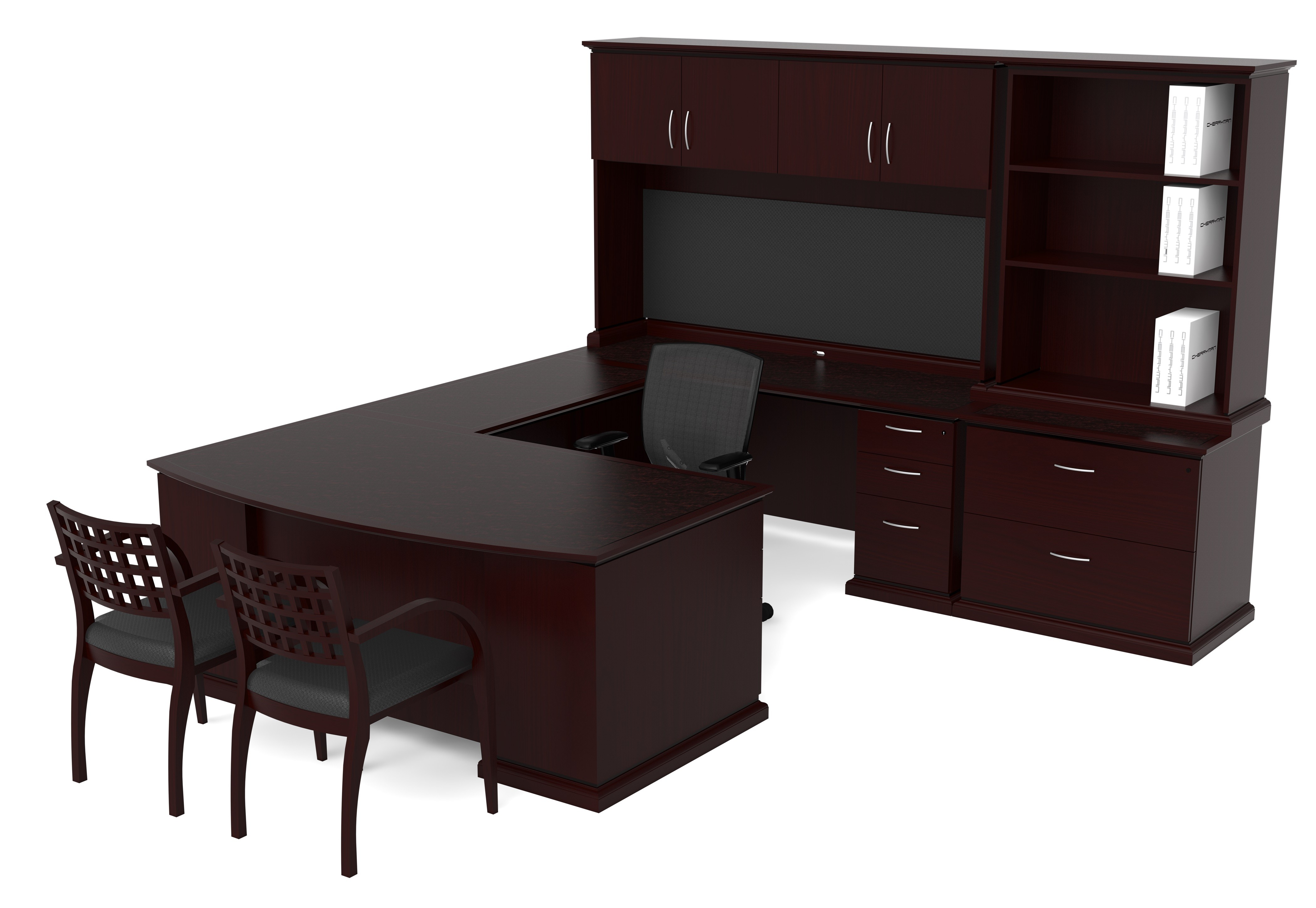 darkbrown l shaped desk with hutch and drawer plus computer stand and armchair for home office
