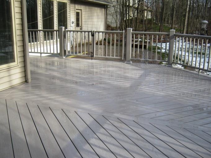 Darkgray Azek Decking And Railing For Deck Ideas