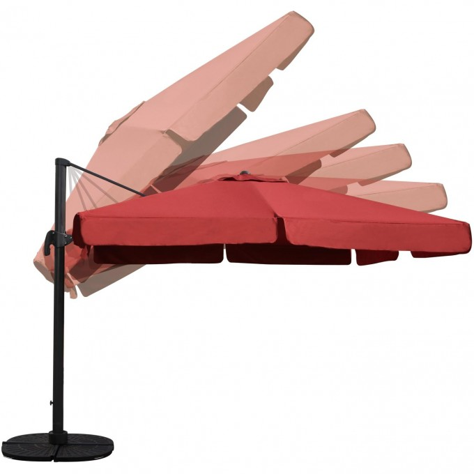 Darlee Square Cantilever Umbrella With Base Henna For Patio Furniture Ideas