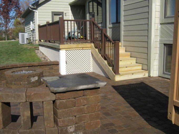 Deck Replacement With Azek Pavers Plus Cream Stairs And Brown Handrail For Exterior Design Ideas