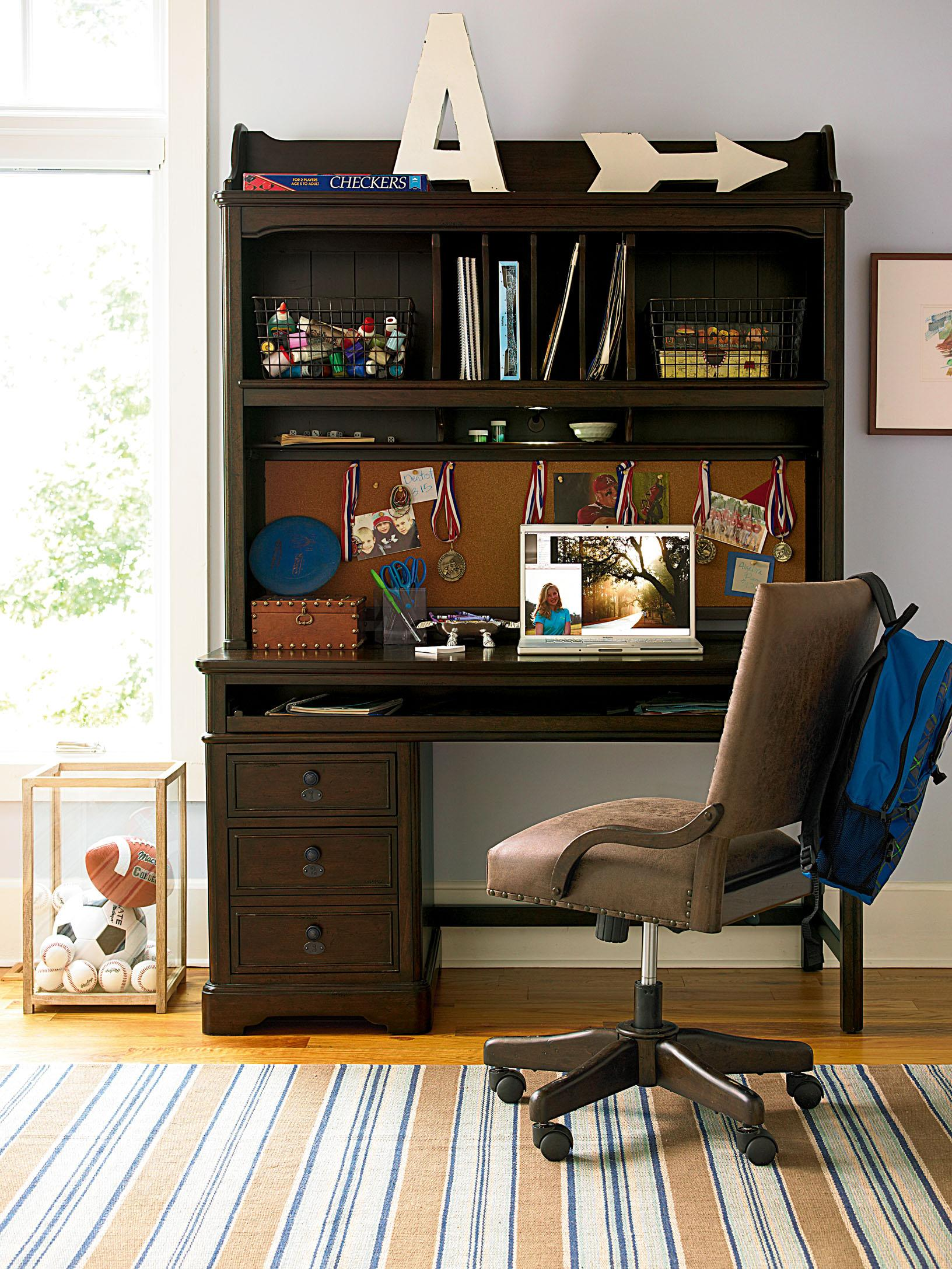 desk by Sprintz Furniture with laptop stand plus chair and stripped carpet ideas