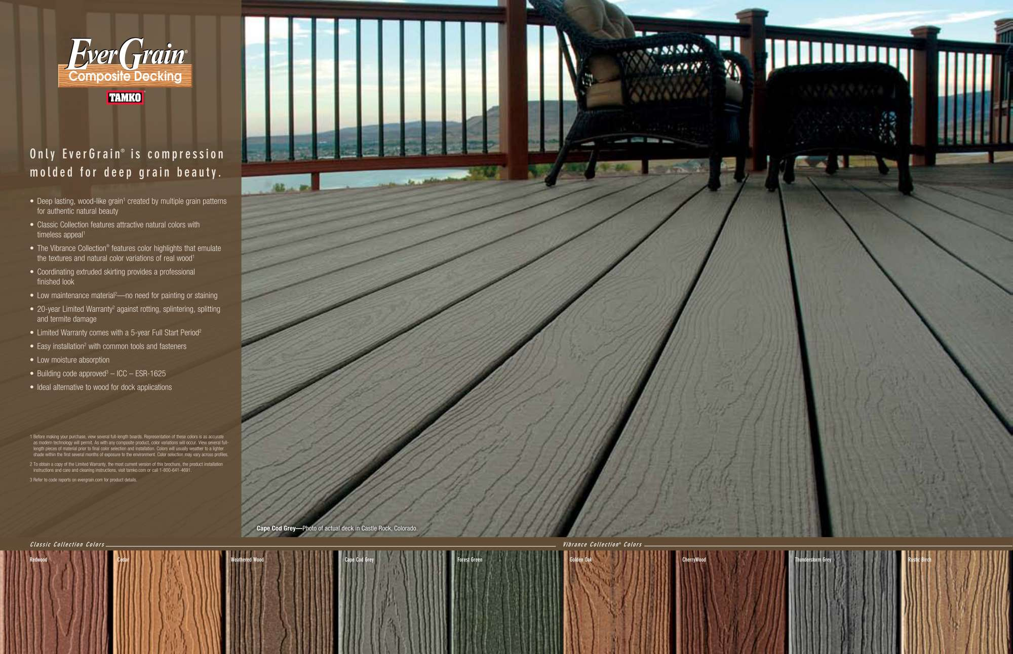 dimgray evergrain decking with brown railing plus rattan sofa for patio decor ideas
