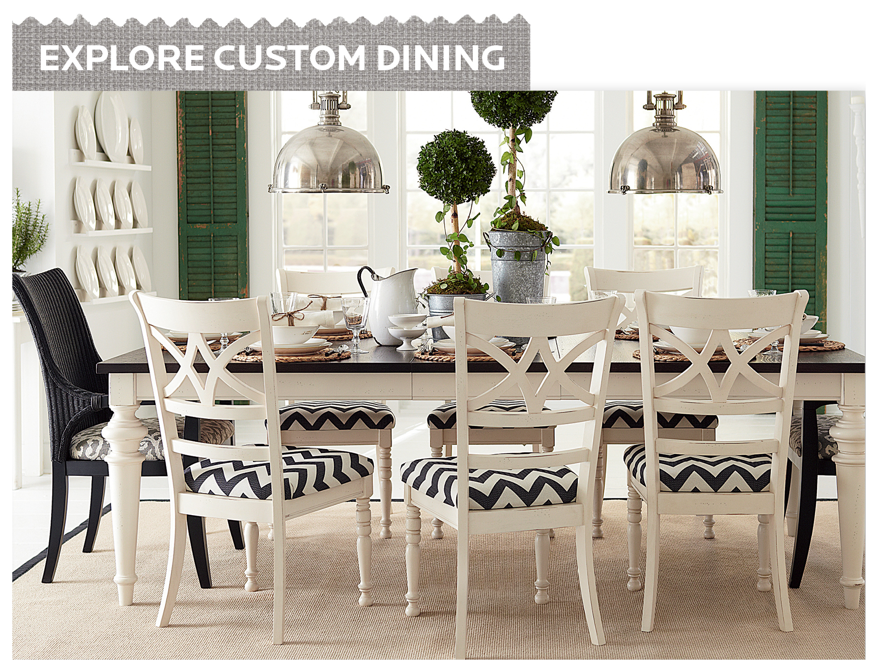 dining room design with Sprintz Furniture with dining table with chevron pattern on seat matched with white floor plus chandelier ideas