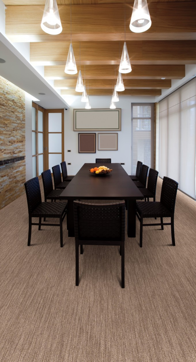 Dining Room Design With Tan Masland Carpet And Black Dining Table Plus Chandelier Ideas