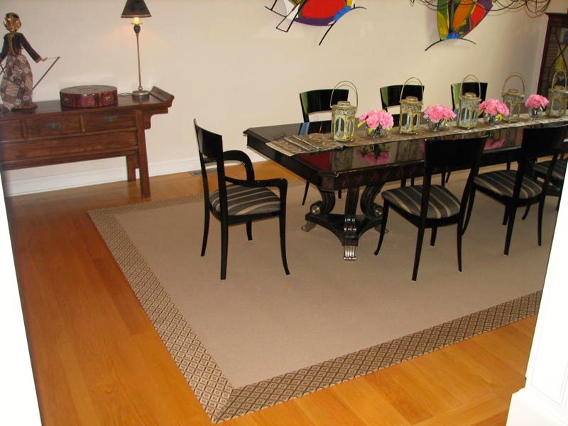 dining room with mocca masland carpet plus black dining table and white wall ideas