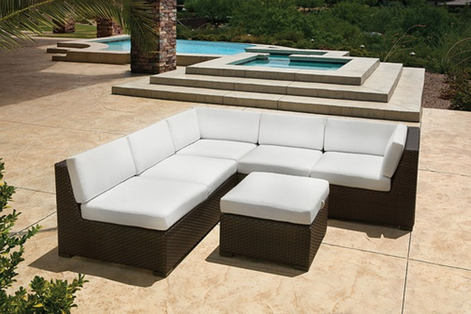 Divine Frontgate Outdoor Furniture In White And Chocolate Theme Near An Awesome Swimming Pool