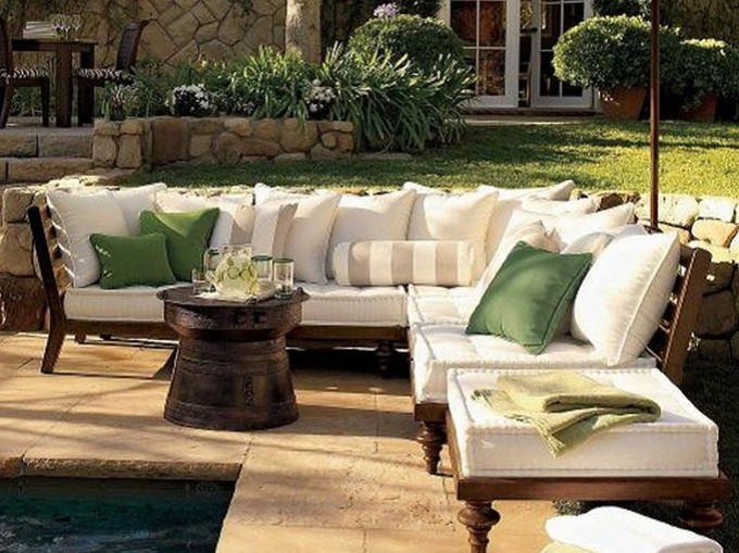 Divine Frontgate Outdoor Furniture With White Sofa And Three Green Cushions On Marble Floor