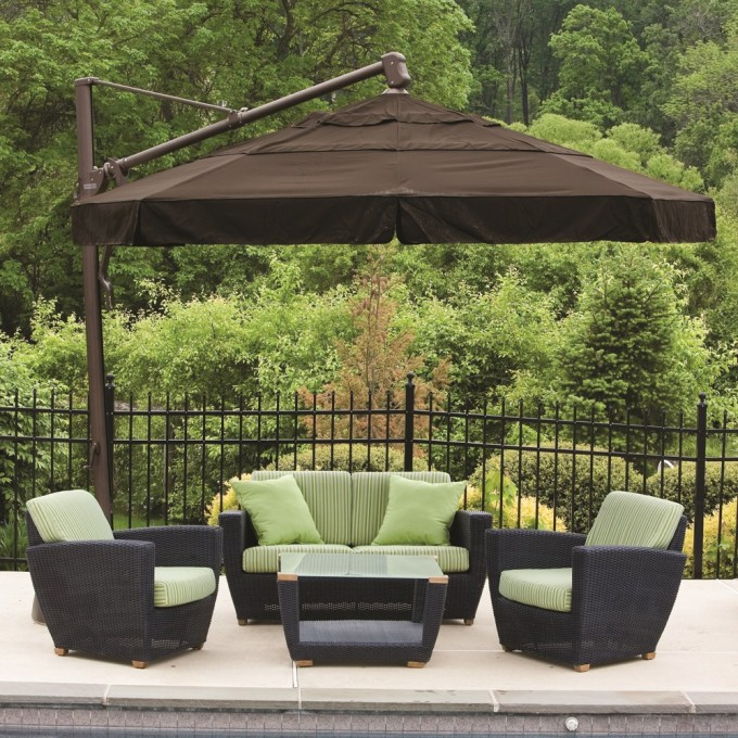 Divine Outdoor Living Room Decoration Using Dark Brown Cantilever Umbrella Plus Rattan Sofa Set With Green Seat And Cushions Ideas