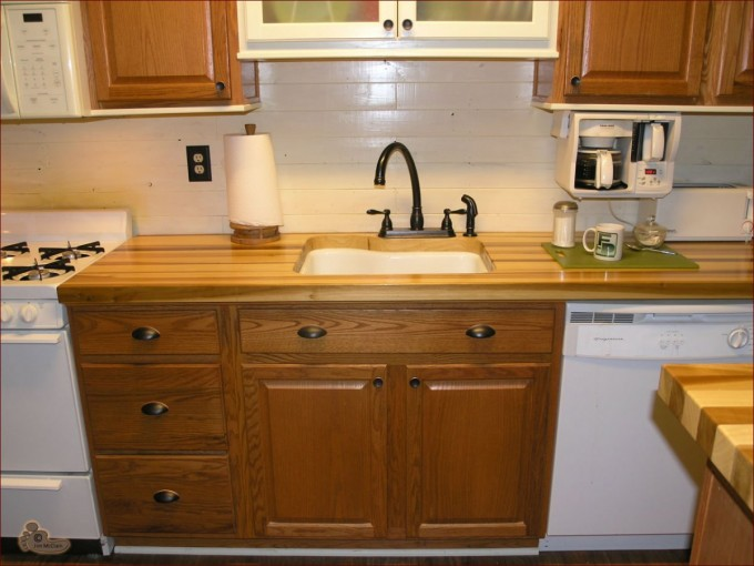 DIY Wooden Butcher Block Countertops With White Sink And Black Faucet Plus Cabinet For Kitchen Furniture Ideas