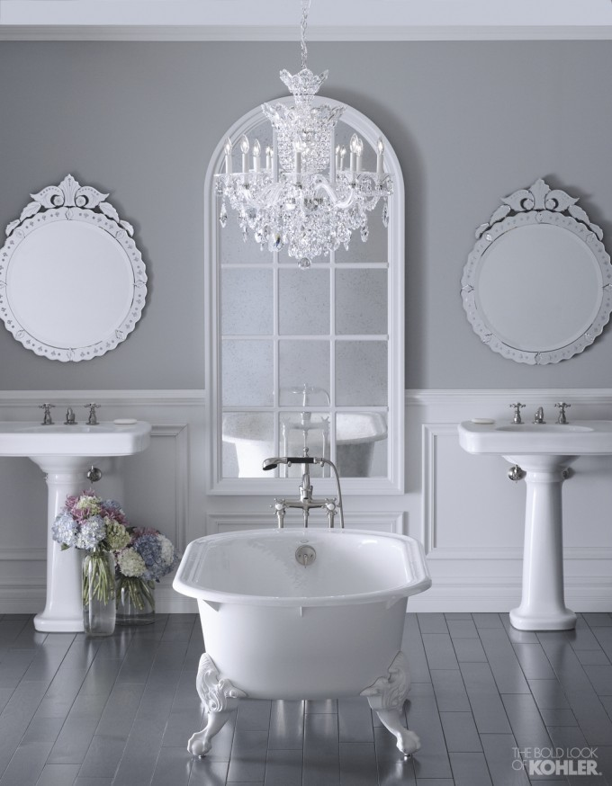 Double Kohler Sinks And Double Mirror On Wall Plus White Bath Up And Chandelier For Bathroom Ideas