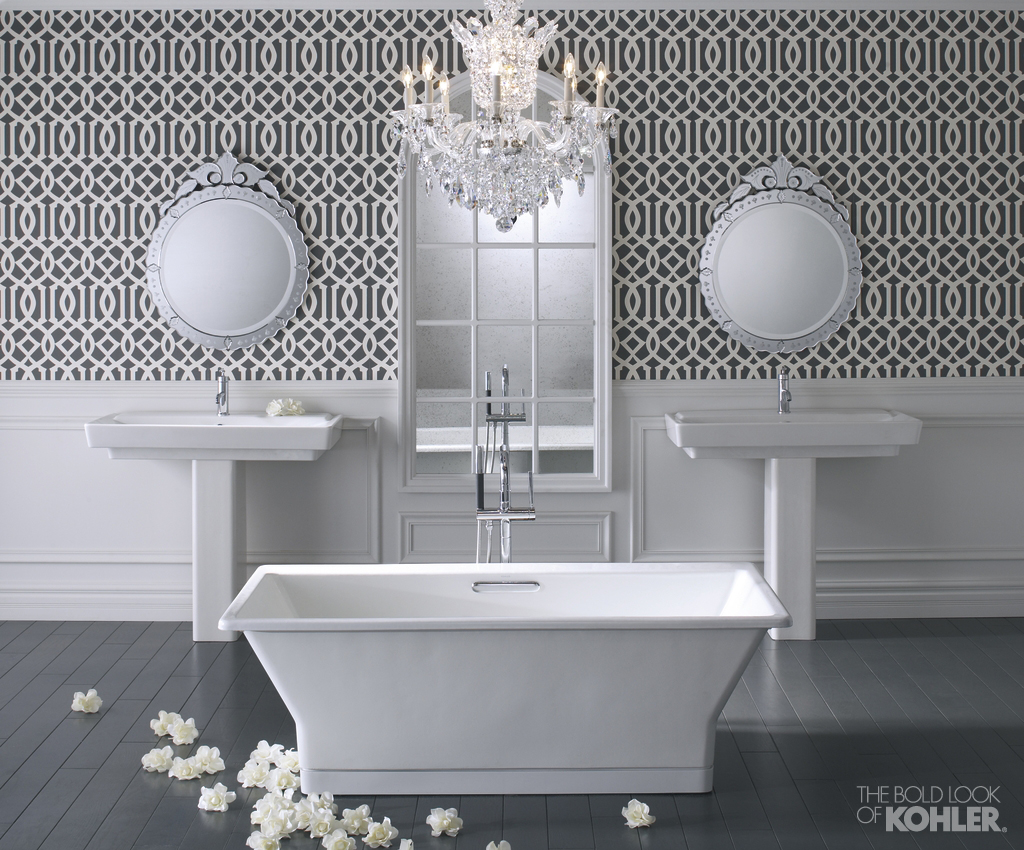 Double Kohler Sinks And Double Mirror On Wall Plus White Bath Up For Bathroom Ideas