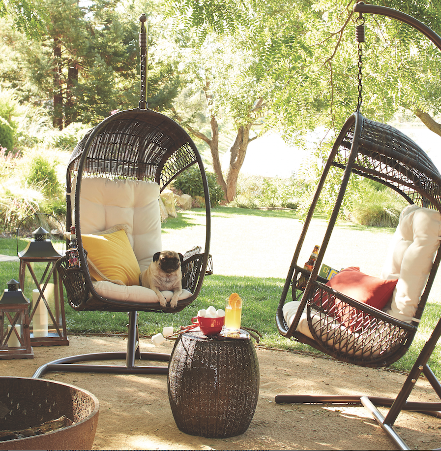 double outdoor rattan swingasan chair with white seat cushion ideas