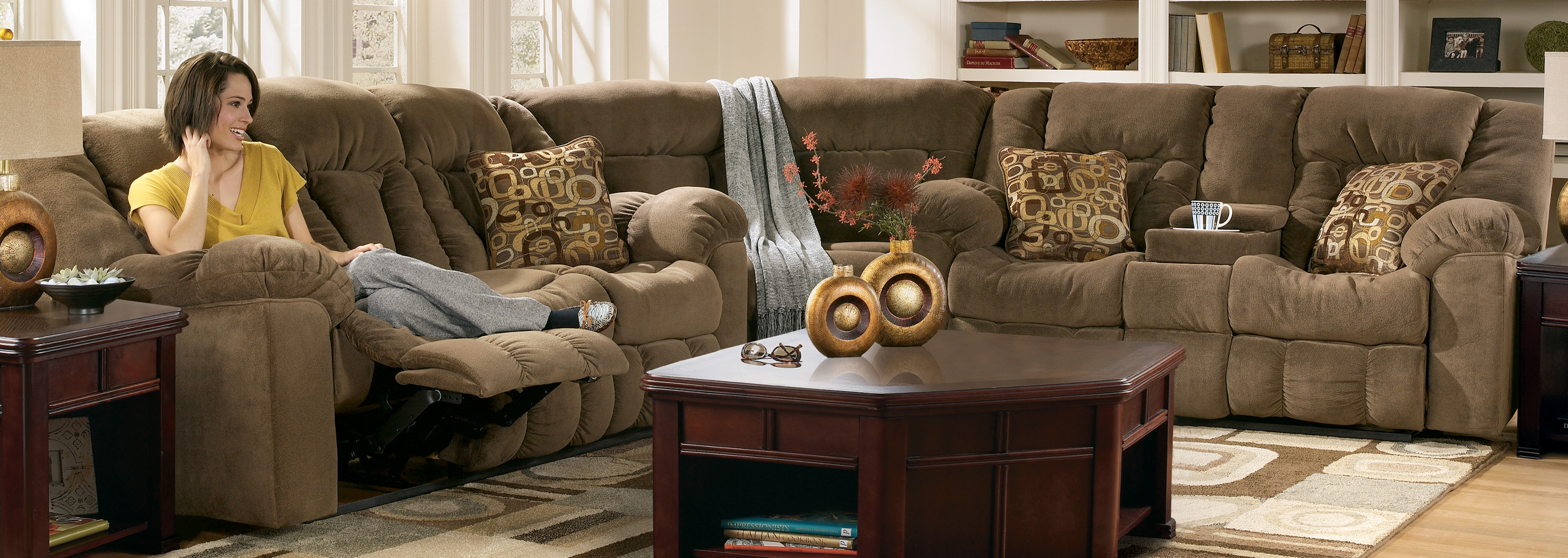 Furniture Elegant Brown Sectional Couches With Cushions And