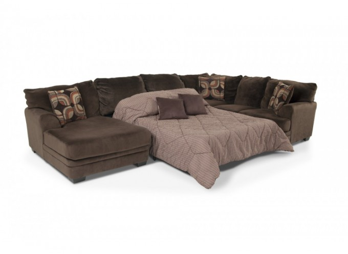 Elegant Brown Sectional Couches With Cushions Plus Bedding Space For Modern Furniture Ideas