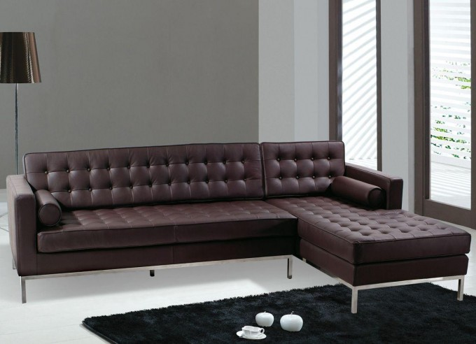 Elegant Brown Sectional Couches With Metal Legs On White Floor Plus Carpet For Living Room Decor