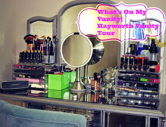 Elegant Hayworth Vanity With Mirror And Other Makeup Tools Plus Chairs For Inspiring Makeup Room Decor Ideas