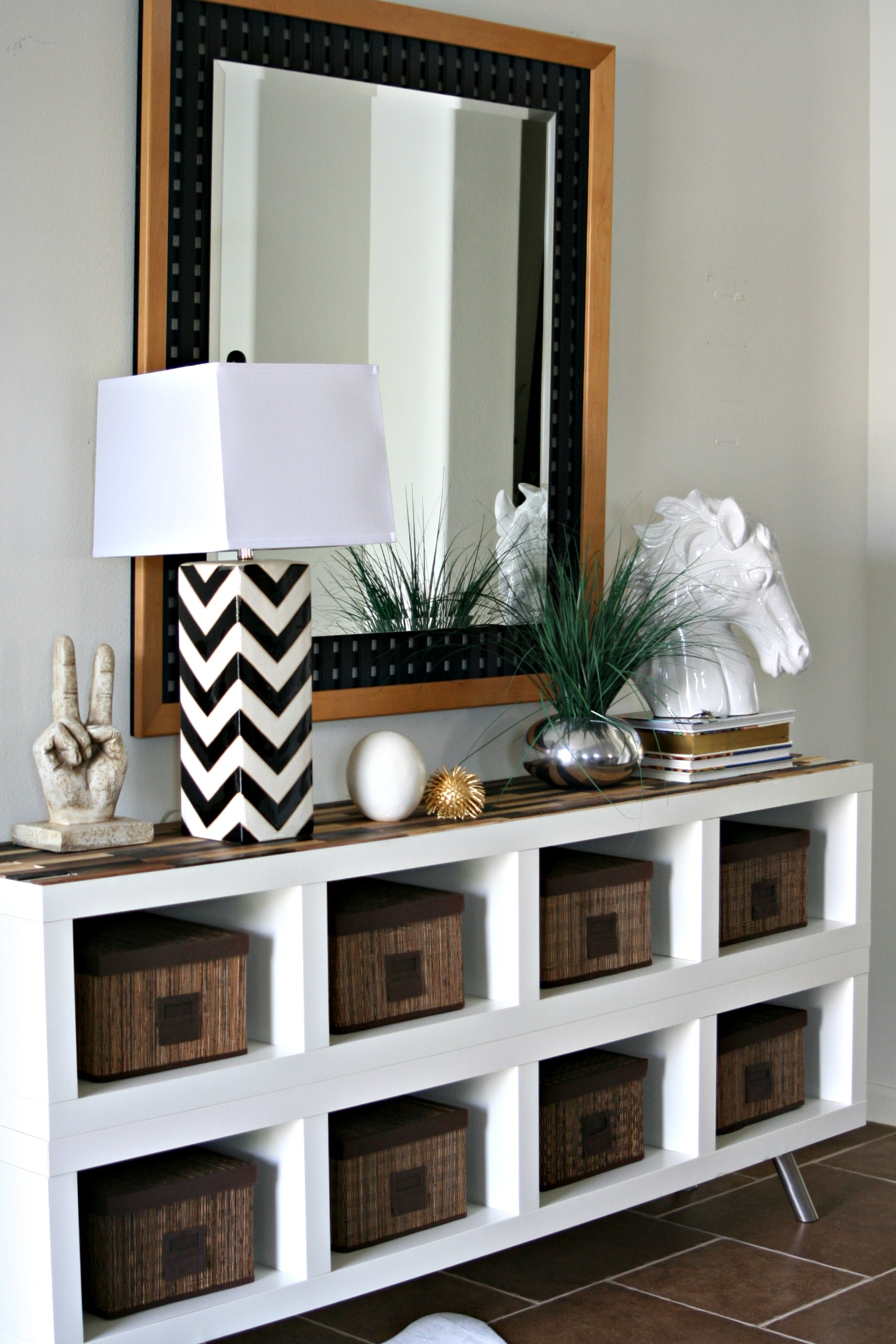 elegant ikea expedit bookcase in white ideas with boxes and chevron table standing lamp plus mirror on white wall