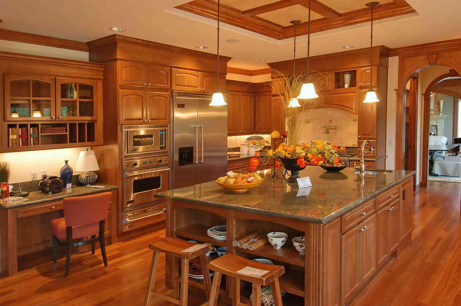 Elegant Kitchens decoration with peru thomasville cabinets and fridge plus oven and chandelier plus wooden floor ideas