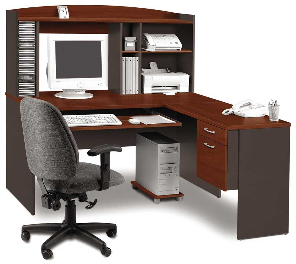 Elegant L Shaped desk with hutch design plus drawer and computer stand plus chair for smart home office furniture ideas