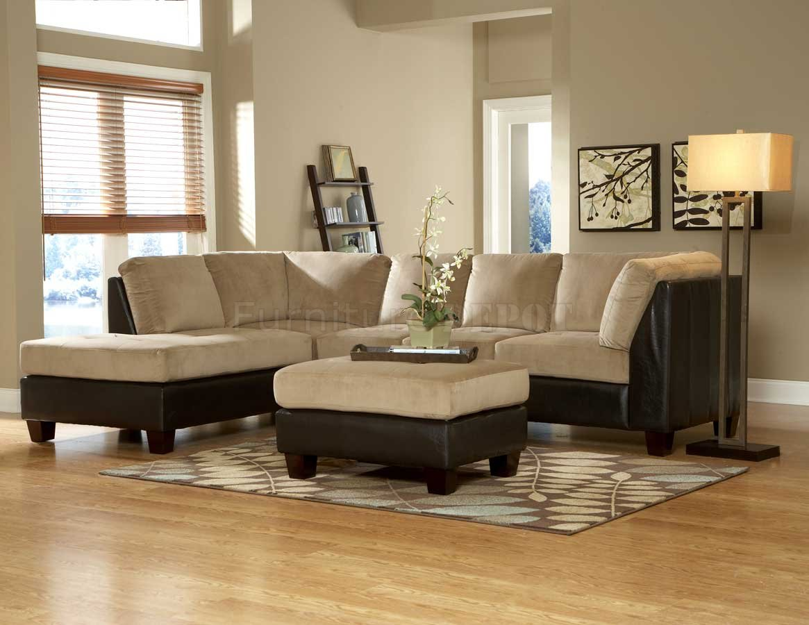 elegant microfiber Sectional Couches in cream and black theme on wooden floor plus carpet for inspiring living room decor ideas