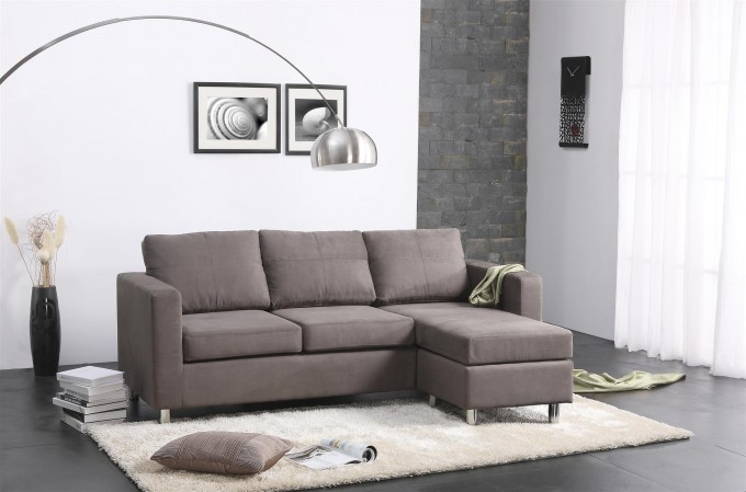 Elegant Small Grey Sectional Couches On Black Floor Plus White Carpet Matched Wit White Wall Plus Floor Standing Lamp For Inspiring Family Room Decor Ideas