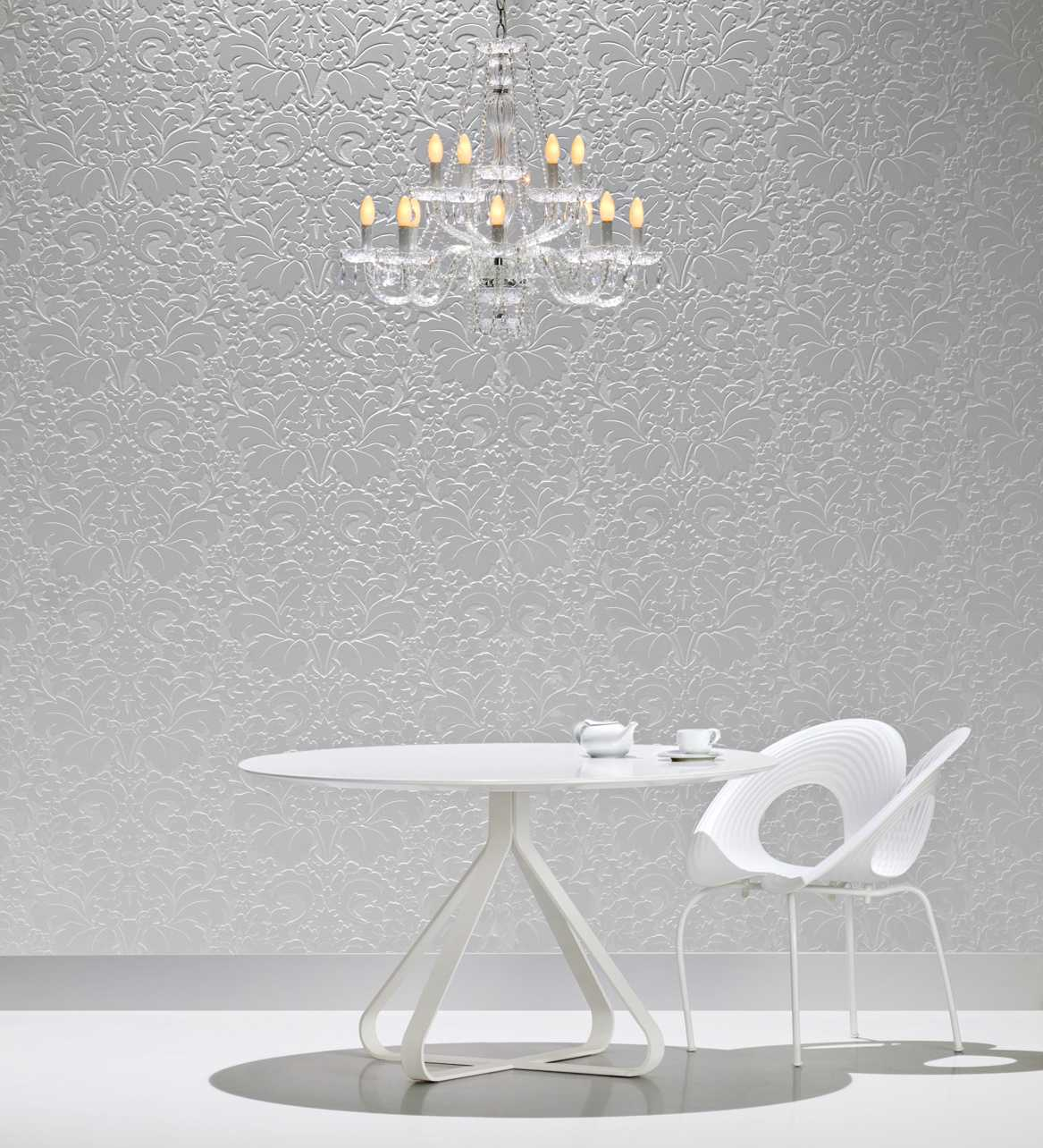 Elegant Textured Surface Ideas by caesarstone plus white table and white chair plus chandelier for coffee room ideas