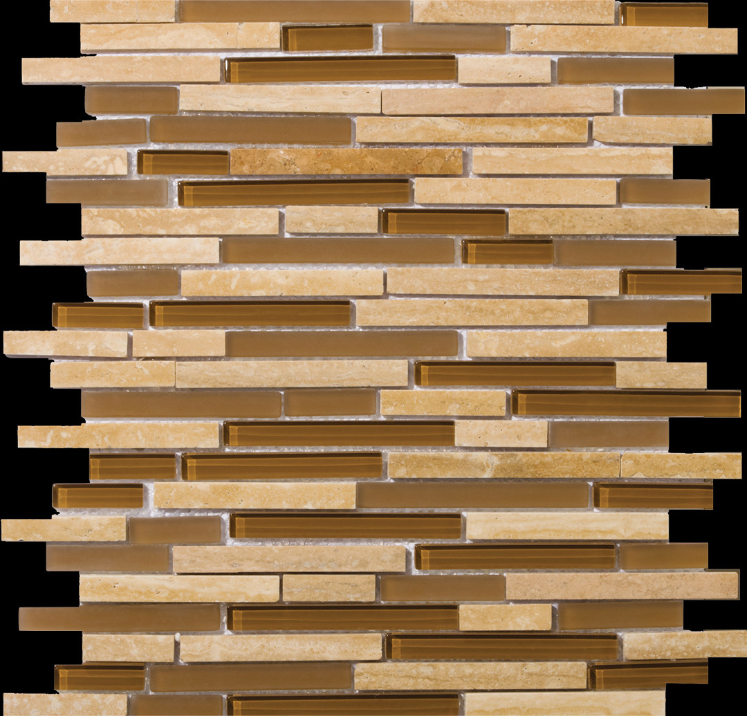 emser tail lucente random sized stone and glass linear mosaic blend in tromba 33
