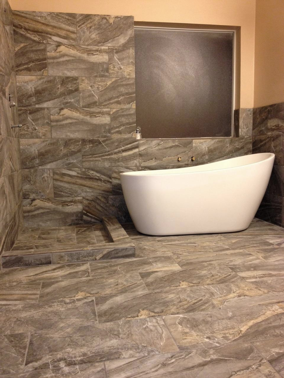 Emser Tile for wall and flooring plus white bath up for bathroom decor ideas