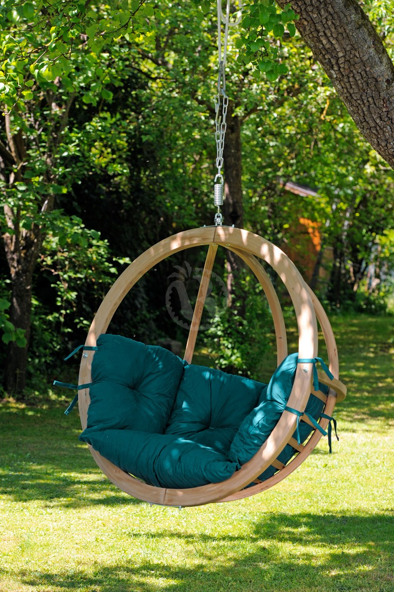 Excellent Outdoor cream swingasan chair with green cushion ideas