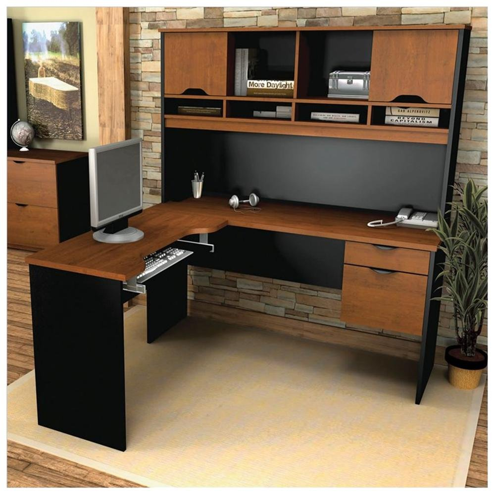 Executive L Shaped Desk With Hutch in black and brown with computer set on wooden floor plus carpet