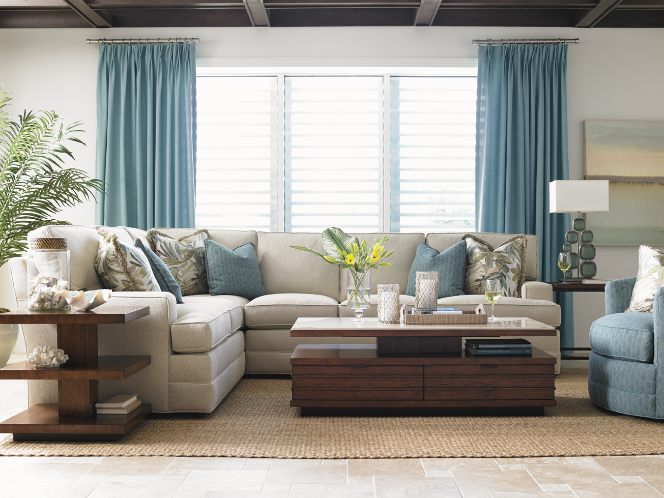family room with wheat sofa by sprintz furniture plus cushion and blue curtain ideas