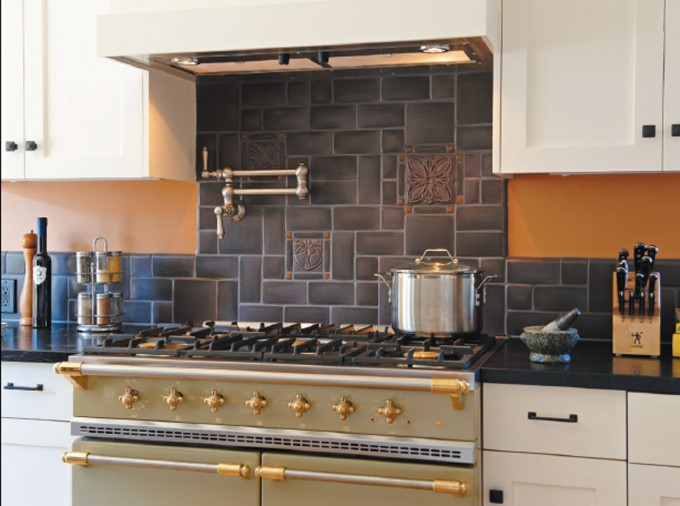 Fantastic Black Motawi Tile For Kitchen Interior Ideas