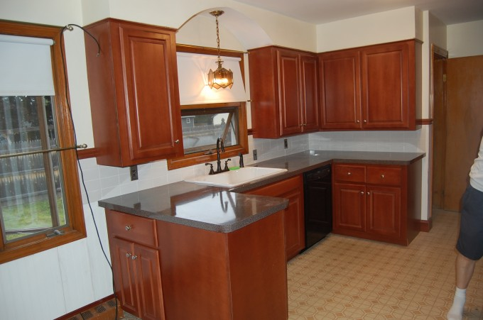 Finest Kitchen Cabinet Refacing Plus White Sink And Kitchen Faucet With Chandelier And White Wall For Lovely Kitchen Decor Ideas