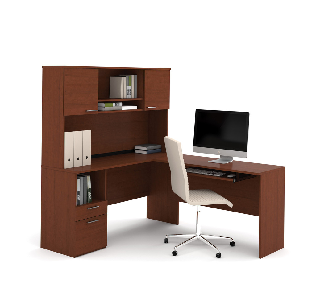 Flame Collection L shaped Desk with Hutch in brown plus computer and white chair for home office furnitures
