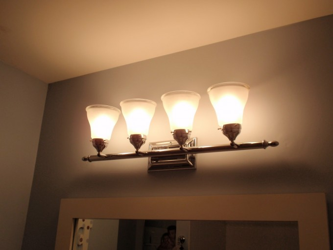 Four Lamps On The Wall For Lowes Bathroom Lighting Ideas