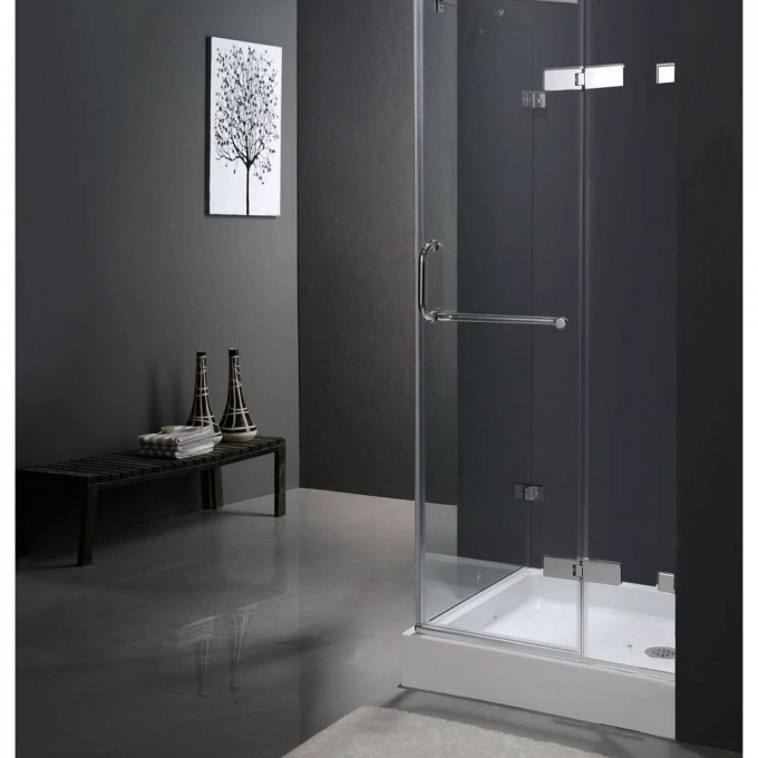 Frameless Shower Doors For Bathroom Ideas With Gray Wall