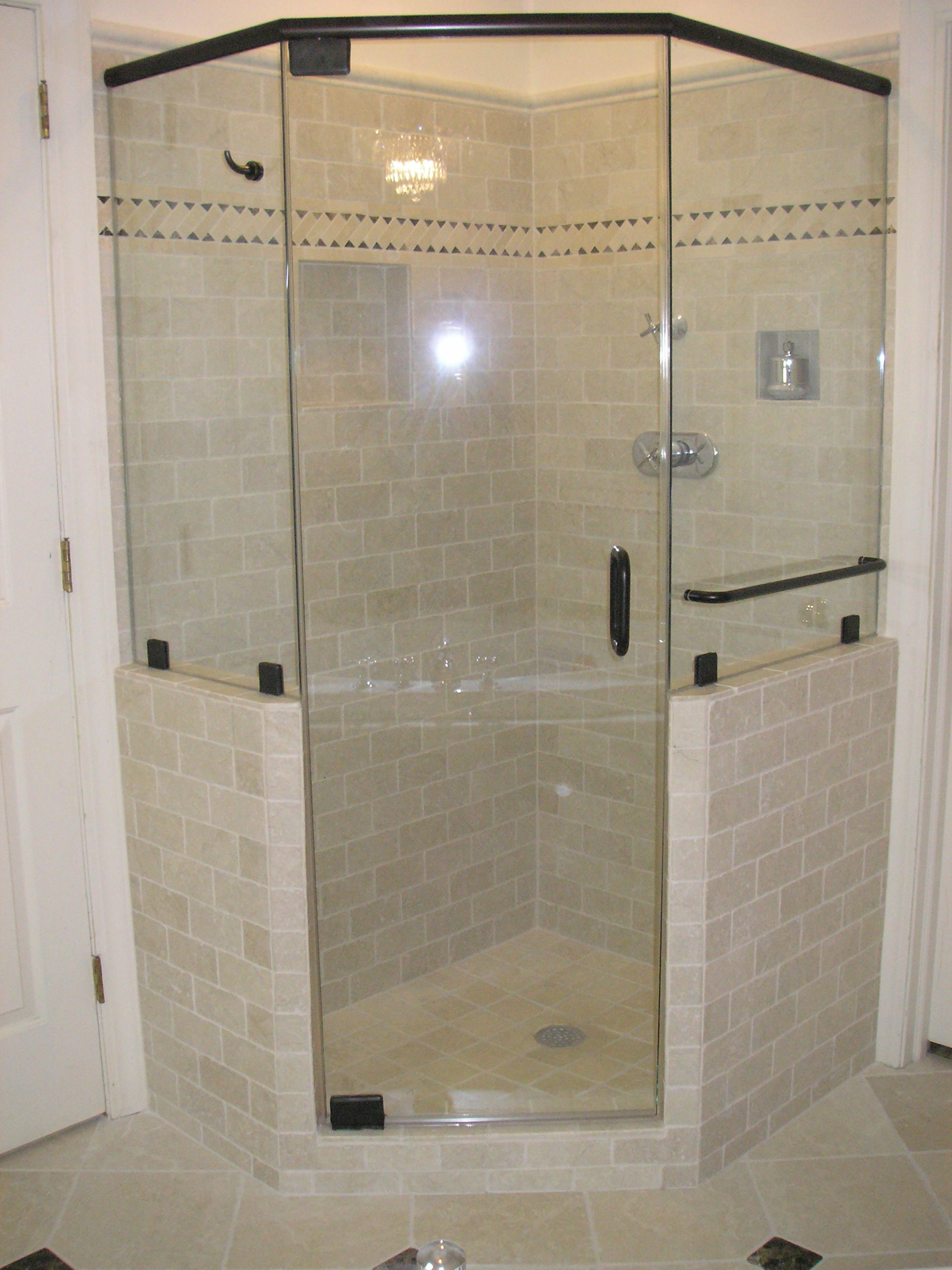 Bathroom: Single Frameless Shower Doors With Silver Towel Hanger ...