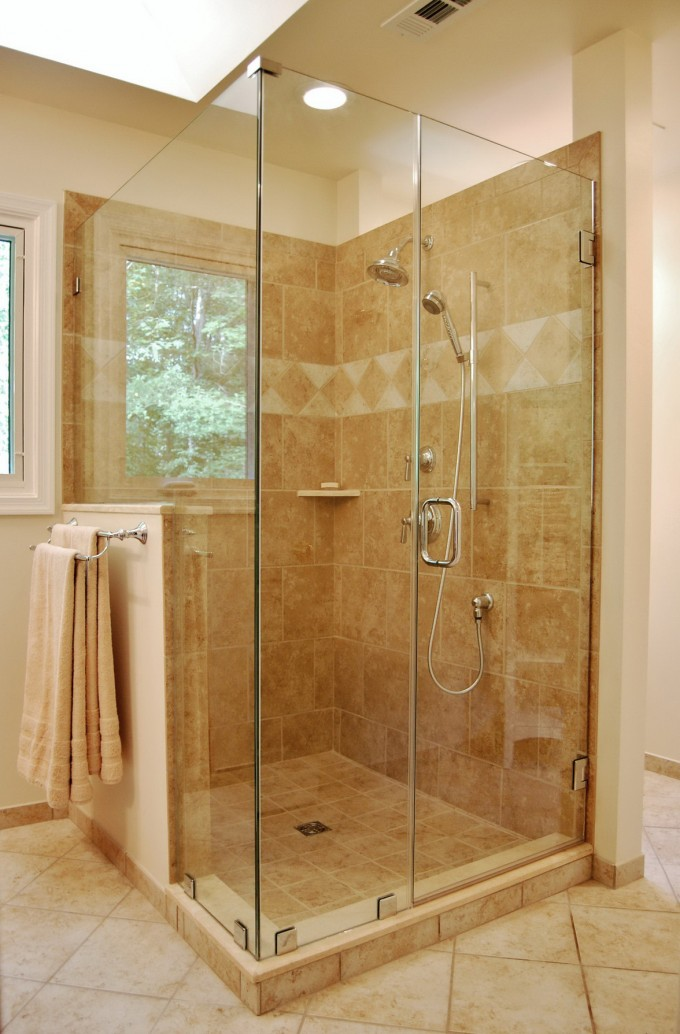 Frameless Shower Doors With Silver Handle Combained With Khaki Ceramics Floor And Wall Plus Silver Shower Faucet