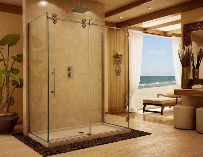 Frameless Shower Doors With Silver Handle Matched With Cream Wall And White Flooring Surrounded By Natural Stone For Amazing Bathroom Ideas