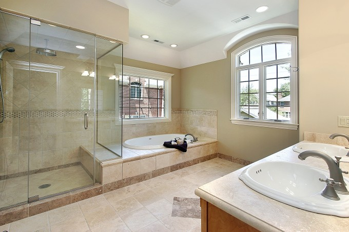 Frameless Shower Doors With Silver Handle Matched With Tan Wall Plus White Bath Up And White Window For Bathroom Ideas