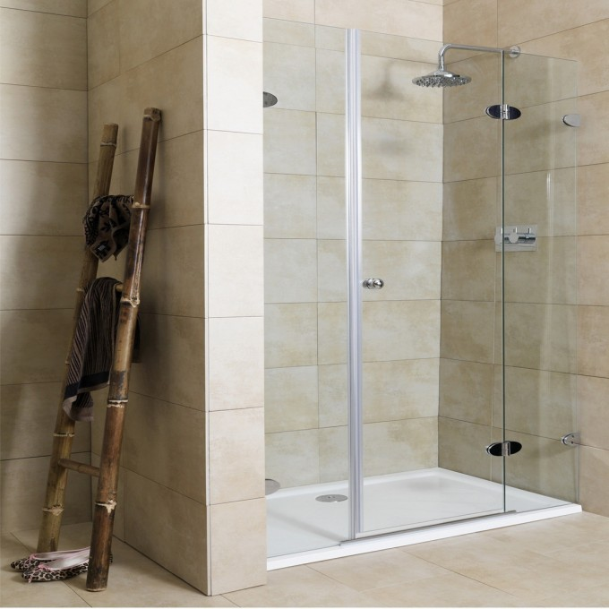 Frameless Shower Glass Doors Designs With Silver Handle Silver Shower Faucet On Wheat Wall