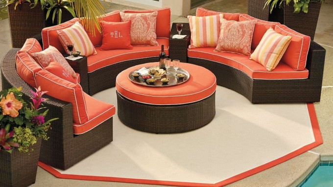 Frontgate Outdoor Furniture With Orange Sofa And Matching Cushions On White Floor