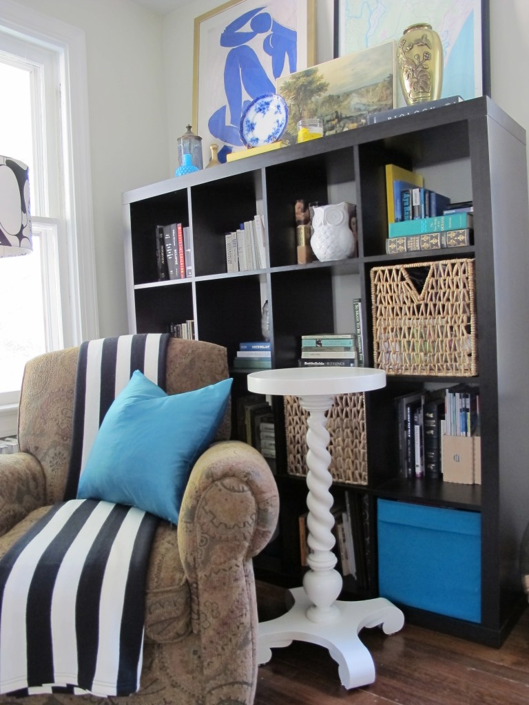 Furniture Appealing Living Room Design Ideas With Black Wood ikea expedit bookcase plus sweety sofa and blue cushions