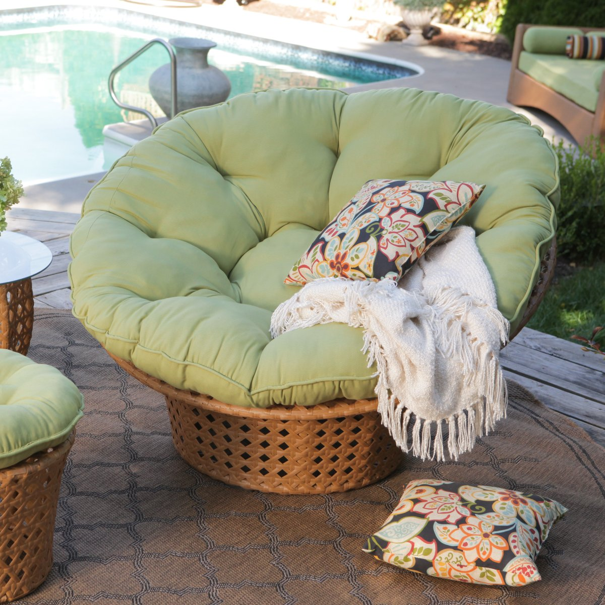 Furniture Delightful Outdoor Living Room Decoration With Rattan Papasan  Chair With Lightgreen Cushions Ideas