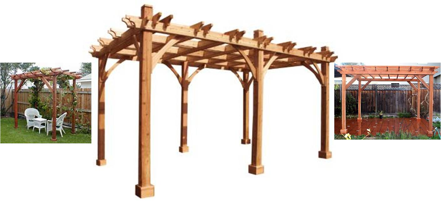 Garden Pergola plans ideas in tan with six props