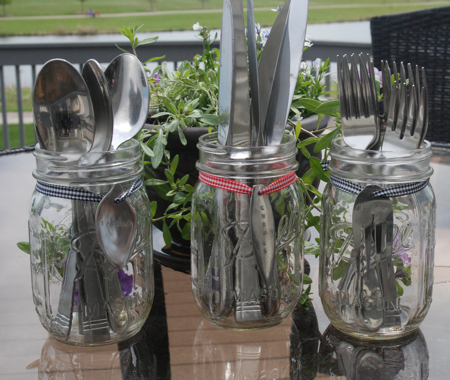 glass utensil caddy for spoons and knife cases ideas
