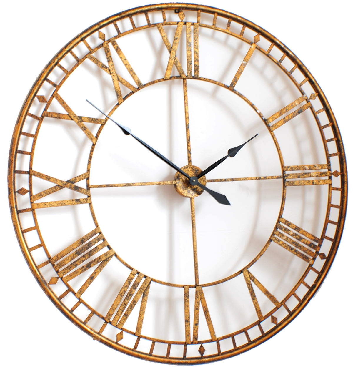 golden oversized wall clock with roman numerals and black hand
