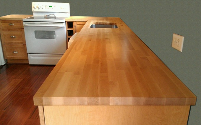 Goldenrod Butcher Block Countertops With Cabinet On Wooden Floor For Kitchen Decor Ideas