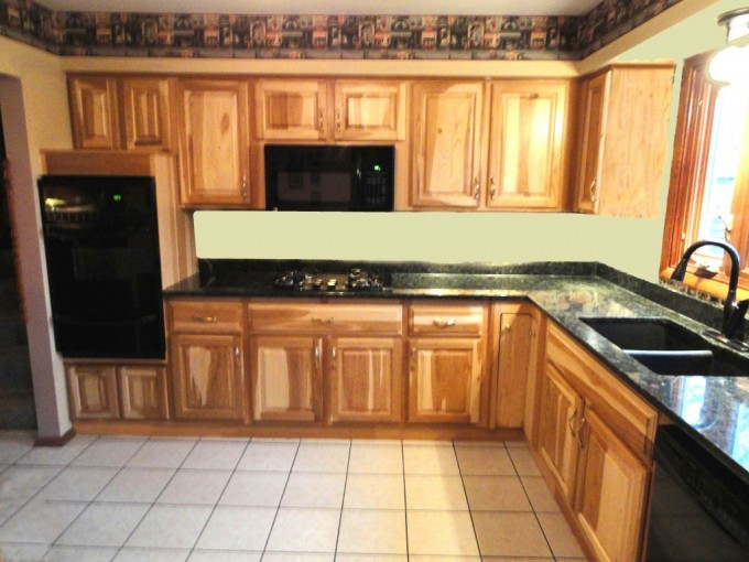 Goldenrod Wood Thomasville Cabinets With Black Countertop And Oven Plus Sink For Kitchen Furniture Ideas